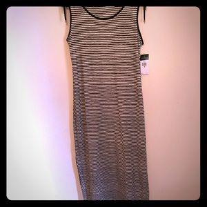 NWT LAUREN Ralph Lauren black stripe dress size M